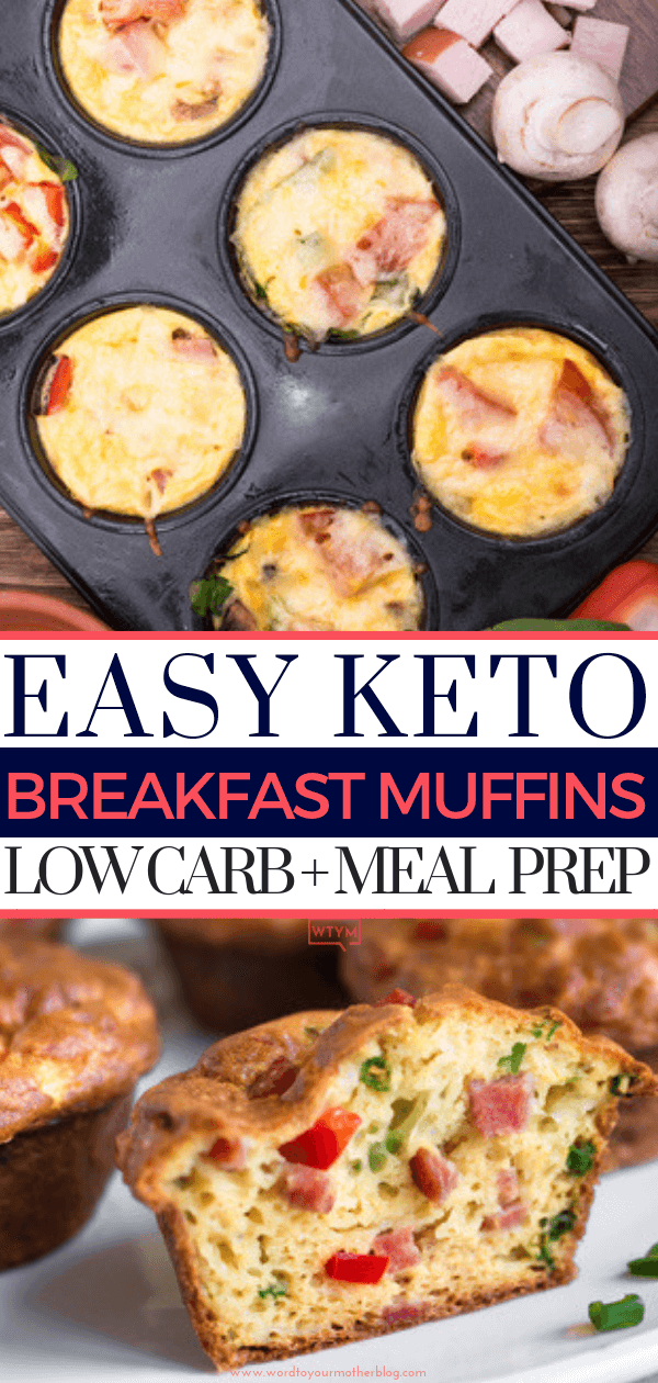 If you're looking for quick & easy breakfast recipes for the low carb or ketogenic diet try these healthy clean eating muffins! Make ahead and freeze for breakfast on busy mornings or enjoy them as a low carb high protein snack! If you're on the Atkins, keto, or low carb diet add this easy keto breakfast recipe to your meal prep lineup so you'll have on the go options ready for the week! #WTYM #lowcarbrecipes #ketorecipes #lowcarb #keto #healthy #breakfast #mealprep #makeahead #freezer