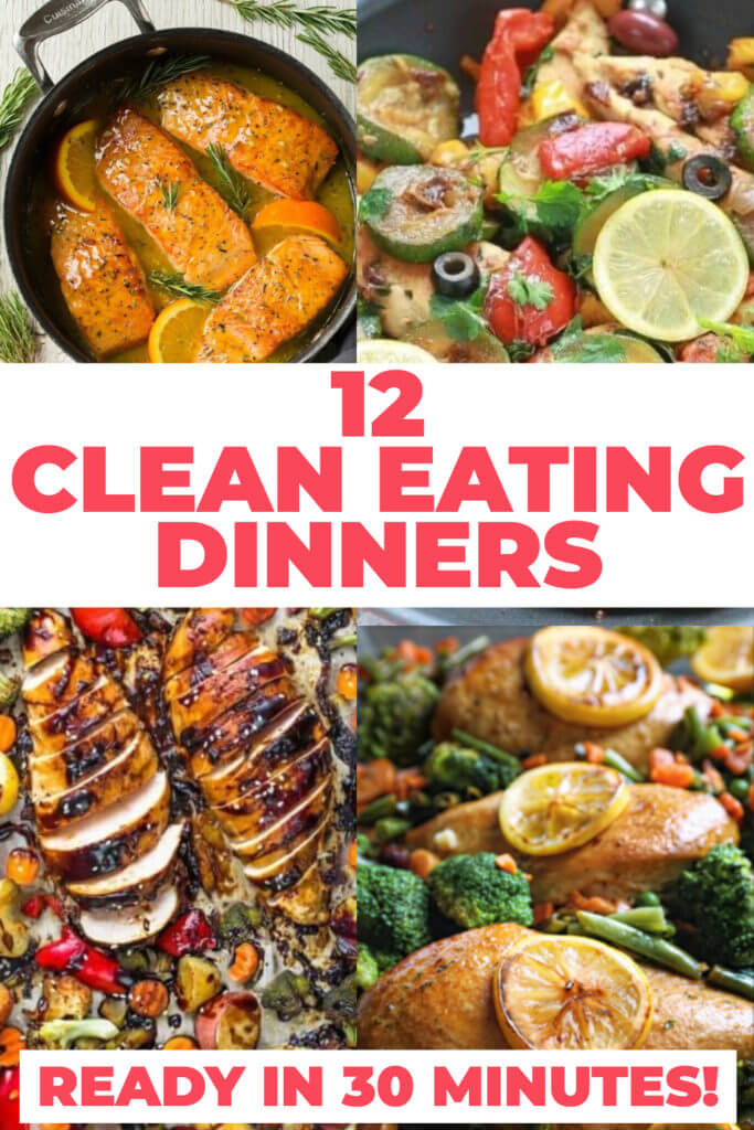 Healthy dinner recipes you can make in 30 minutes or less! Easy clean eating recipes for families to enjoy! Perfect to add to your weekly meal plan for weight loss these clean eating recipes are quick & delicious! From one pot chicken to low carb fish and clean eating beef and pork you're guaranteed to find a new favorite healthy recipe for dinner here! #healthyrecipes #cleaneating #healthy #cleaneatingrecipes #cleaneatingmeals #diet #dinner