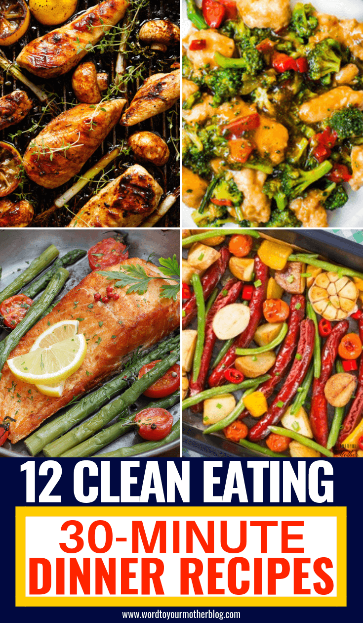Healthy dinner recipes you can make in 30 minutes or less! Easy clean eating recipes for families to enjoy! Perfect to add to your weekly meal plan for weight loss these clean eating recipes are quick & delicious! From one pot chicken to low carb fish and clean eating beef and pork you're guaranteed to find a new favorite healthy recipe for dinner here! #healthyrecipes #cleaneating #healthy #cleaneatingrecipes #dinner