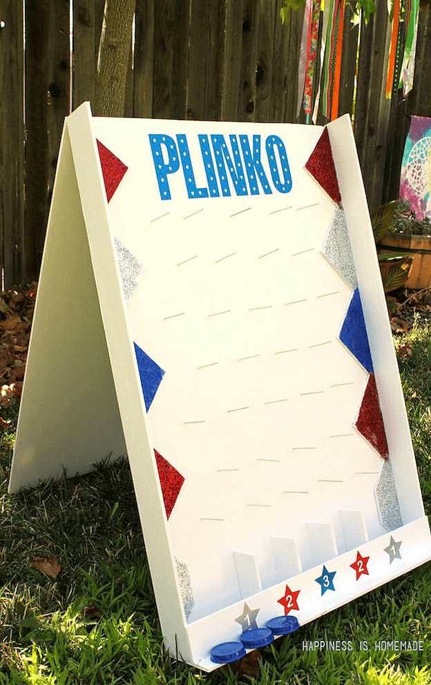 33 Awesome DIY Outdoor Games For Summer Fun Plinko from Happiness is Homemade