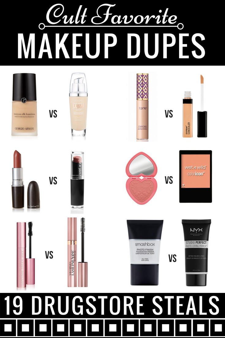 Best Drugstore Makeup Products! Looking for makeup on a budget? From foundation dupes to eyeshadow palettes and mascaras to drugstore lipstick dupes you have to see to believe this list of drugstore dupes for high-end makeup for less has all the cult favorites: Elf, MAC, Urban Decay & more! Whether you're looking for concealers, primers, blushes or bronzers, this list of drugstore dupes has you covered! #drugstorebeauty #drugstoremakeup #beauty #makeup #makeupdupes