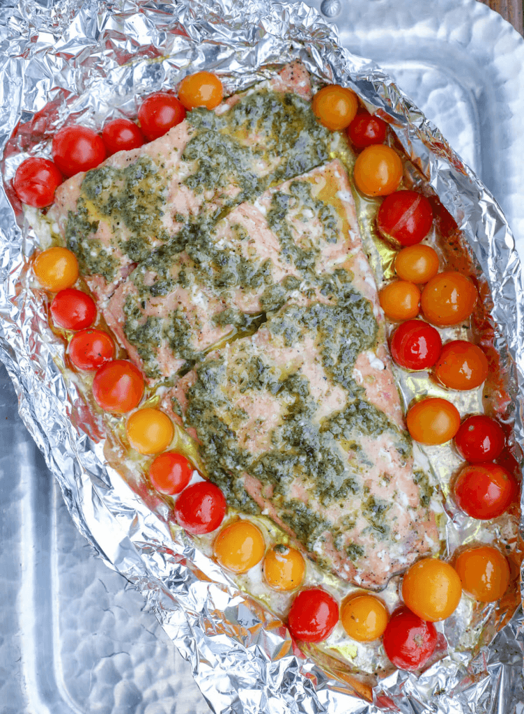 Keto Foil Pack Meals Salmon via I Breathe I'm Hungry