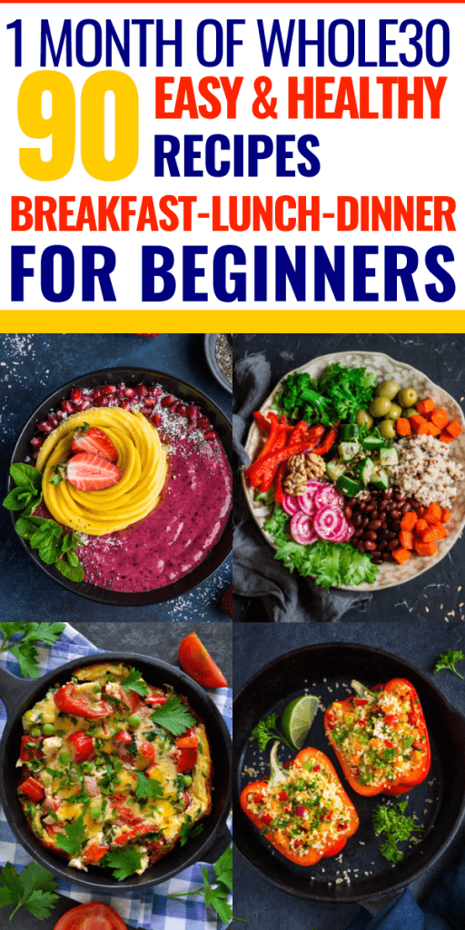 Whole 30 Meal Plan A full 30 days of Whole30 recipes! Take on the Whole 30 challenge with 90 Whole 30 recipes for breakfast, lunch, and dinner. Delicious crockpot Paleo recipes that are designed to help you lose weight with an easy to follow menu & beginners guide to the Whole 30 diet. #whole30 #paleo