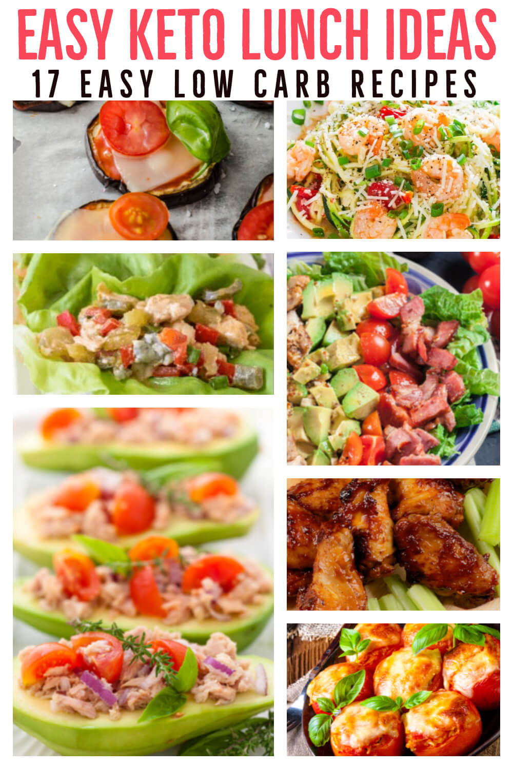 Keto Lunch Ideas! 21 low carb keto lunch recipes perfect for work, home or on the go! These simple recipes make losing weight on the ketogenic diet easy! Easy low carb lunch ideas you can meal prep or make fast with shrimp, chicken, tuna,& ground beef! With easy keto salads, wraps, bowls, & vegetarian options you'll never run out of keto lunch ideas! #keto #ketorecipes #lowcarb