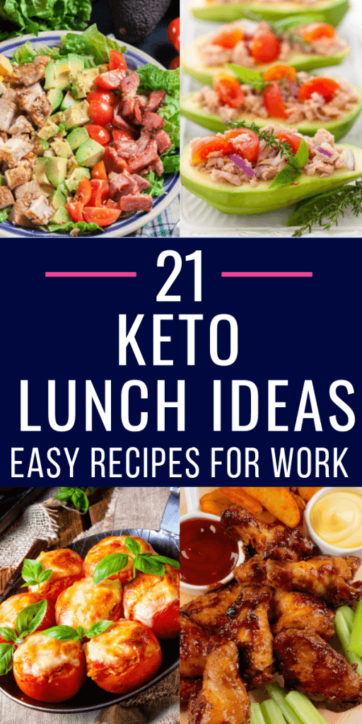 21 Keto Lunch Ideas Fabulous packable keto lunch recipes to take on the go to work, school, or enjoy at home! Make life easy with these low carb, ketogenic diet recipes for lunch! Whether you're looking for quick and easy chicken, or prefer to meal prep a beef taco bowl your lunch is covered with these easy keto recipes! Don't miss the tuna salad stuffed avocados! Yum! #keto #ketogenic #ketosis #ketodiet #ketogenicdiet #ketorecipes #ketolunch #lowcarb