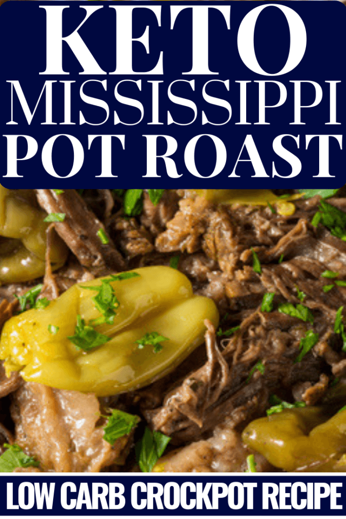 This keto crockpot recipe is an easy and healthy low carb dinner that tastes amazing! Slow cooking Mississippi Pot Roast is a cheap keto diet meal idea for families! Best weight loss recipe on the ketogenic diet! #keto #ketogenic #ketodiet #ketogenicdiet #ketorecipes #crockpot #crockpotrecipes