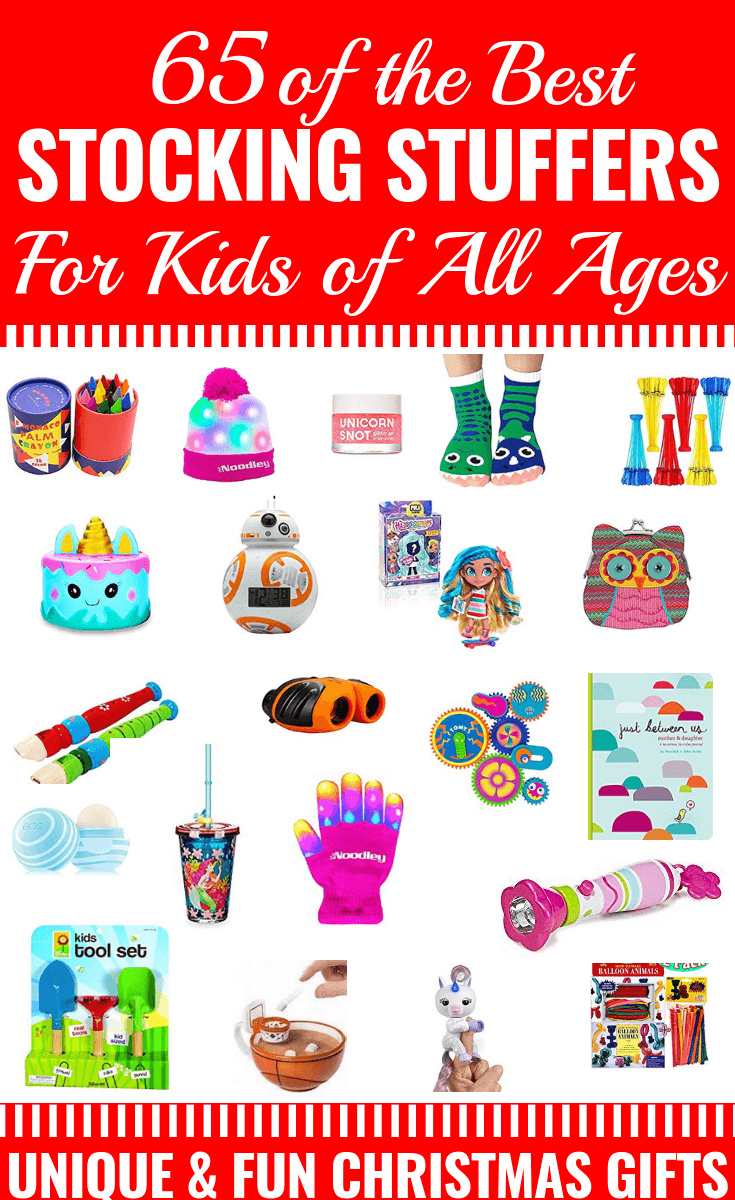 65 Stocking Stuffers for Kids Searching for cheap and useful Christmas gifts to fill your little one's stocking? This collection of unique, fun, and inexpensive ideas are perfect whether you have boys, girls, toddlers or tweens! #Christmastoys #Christmasgifts #giftguideforkids #giftguideforgirls #stockingstuffers #toyguide #stockingstuffersforkids