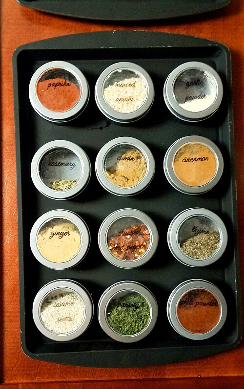 I'm always looking for easy kitchen organization ideas, and these DIY budget-friendly tips! A magnetic spice rack is a clever hack fro A Cultivated Nest! #KitchenOrganization #KitchenOrganizationDIY #kitchentips #kitchenideas #organization #organizationideas