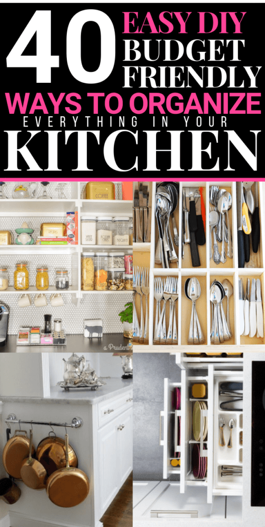 These easy kitchen organization DIY's from the dollar tree are genius! 40 ways to organize your small or large kitchen on the cheap! Dollar store & Ikea hacks to help you declutter kitchen drawers, countertops, spice racks, refrigerator, cabinet & pantry-on budget! Don't miss these cheap & easy ways to get your kitchen organized! #dollarstoreDIY #KitchenOrganization #KitchenOrganizationDIY #organization #dollarstorehacks