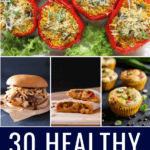 Healthy freezer meals to make ahead for the week! The best easy, budget friendly recipes for busy families! Making meals for breakfast, lunch, and dinner has never been easier with these 30 healthy freezer meal recipes! From easy breakfast burritos to clean eating snacks, and freezer-friendly low carb casseroles you'll find a new favorite to add to your crockpot & weekly meal prep plan! #freezermeals #healthy #mealprep #makeahead