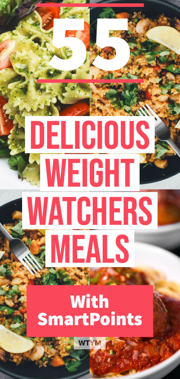 Weight Watchers Meals with SmartPoints! If you're looking for easy and delicious Weight Watchers meals to help you lose weight or eat healthy then you need this collection of Weight Watchers recipes! Over 55 healthy recipes for breakfast, lunch, dinner and dessert plus 10 Weight Watchers snacks under 1 SmartPoint! Losing weight on the Weight Watchers diet has never tasted better! #ww #smartpoints #healthy #WTYM