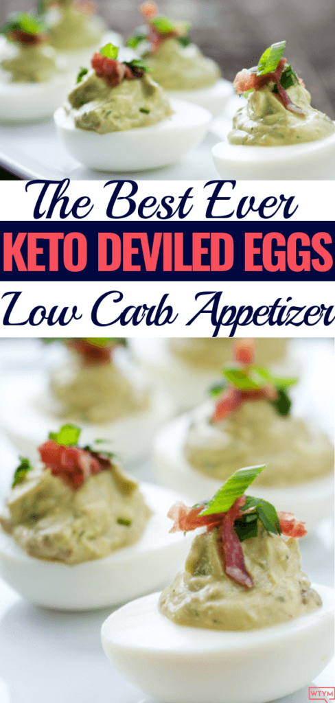 The Best Keto Deviled Eggs with Avocado: Low Carb Guacamole Stuffed Eggs with Bacon! This easy clean eating low carb appetizer recipe also makes a great keto snack! No mayo required in this keto deviled egg recipe that you can make spicy by adding Jalapeños! Perfect keto party appetizer that's super easy & filling!