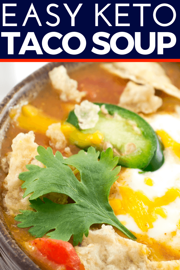 Keto Taco Soup | This easy Keto Taco Soup recipe makes a fabulous low carb dinner that won't break your budget! Family friendly, low carb Keto Taco Soup is ready in under 30 minutes (stovetop) or slow cooked to perfection in the crockpot! Ground beef, cream cheese and a few simple seasonings combine to create an amazing & creamy taco soup with less than 5 net carbs per serving! #keto #ketorecipes #crockpot
