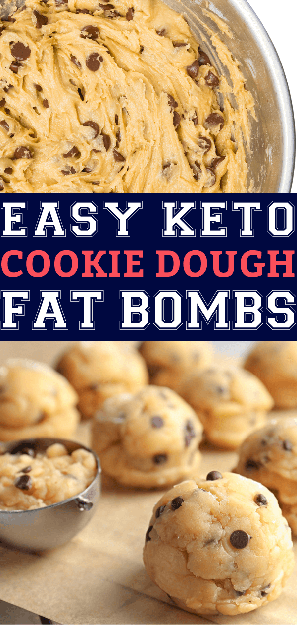 Keto Chocolate Chip Cookie Dough Fat Bombs! The best keto fat bombs on the ketogenic diet! Try this healthy, low carb snack recipe with cream cheese, peanut butter, sugar-free chocolate chips & butter for a keto dessert or snack that is out of this world delicious! Eggless, edible cookie dough! Seriously, the best easy no-bake keto fat bomb recipe EVER! #keto #ketorecipes