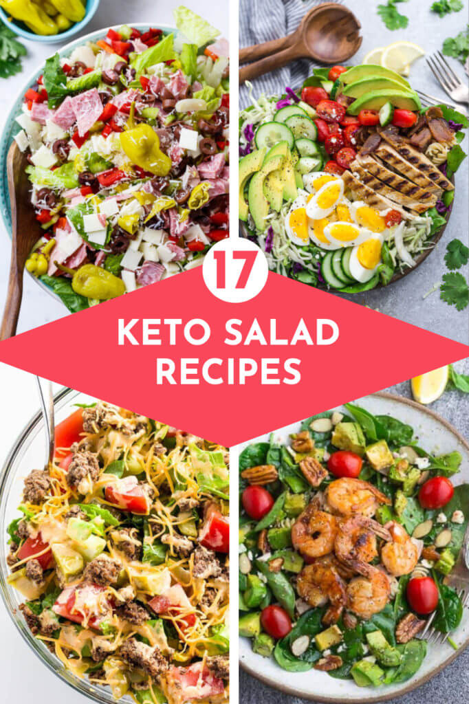 27 Keto Salad Recipes That Make Lettuce Less Boring | Low carb, healthy salad recipes perfect if you're eating clean or staying low carb on the keto diet for weight loss! These easy keto salad recipes work for lunch or dinner that's quick, keto & delicious! Whether you prefer chicken, spinach, bacon, tuna, shrimp or fresh avocado for protein this collection of keto salad recipes has you covered!