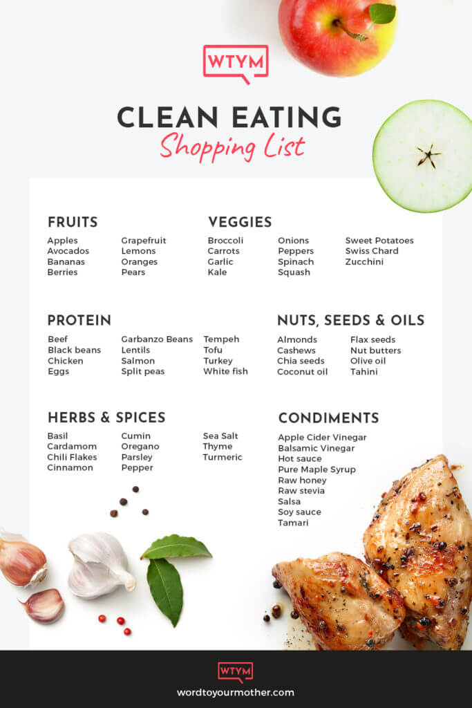 Clean Eating Shopping List for Beginners! Great resource if you want to start a clean eating diet for health or weight loss! Download the free printable clean eating grocery list & learn all of the rules & guidelines - what to eat & what to avoid - for a healthier lifestyle. Perfect beginners with tips & nutrition info about how to eat clean! Don't miss this healthy shopping list! #cleaneating #healthy #mealplanning