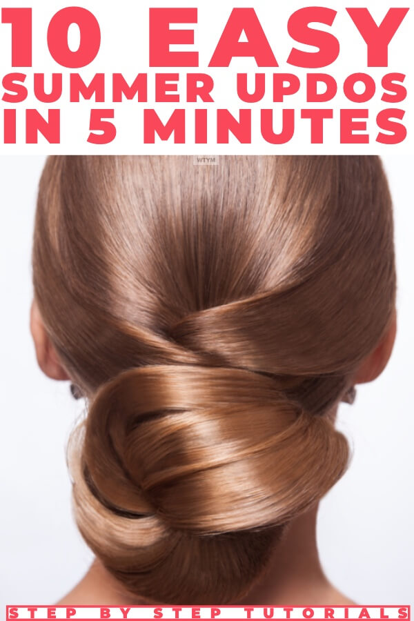 5 Minute Summer Hairstyles Step By Step: 12 Easy Summer Hair Tutorials. Check out these easy summer hairstyles you can do in 5 minutes or less! Whether you're looking for a quick updo like a perfect messy bun, a simple braid or a sleek ponytail you'll find an effortless look in this collection of Lazy Girl summer hairstyles - perfect for shoulder length hair! #hairstyles #SummerHairstyles