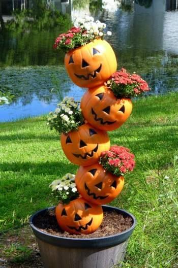 40 Dollar Store Halloween DIY's - Tipsy Pumpkins - Birds & Blooms