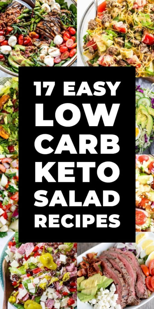 17 Keto Salads. If you're looking for keto lunch ideas or a light low carb dinner then check out these keto salads! Easy, low carb healthy salads with chicken, shrimp, steak, salmon and veggies! These easy clean eating salad recipes will help you achieve your weight loss goals without feeling deprived! #keto #ketorecipes #lowcarb #lowcarbrecipes #summersalad