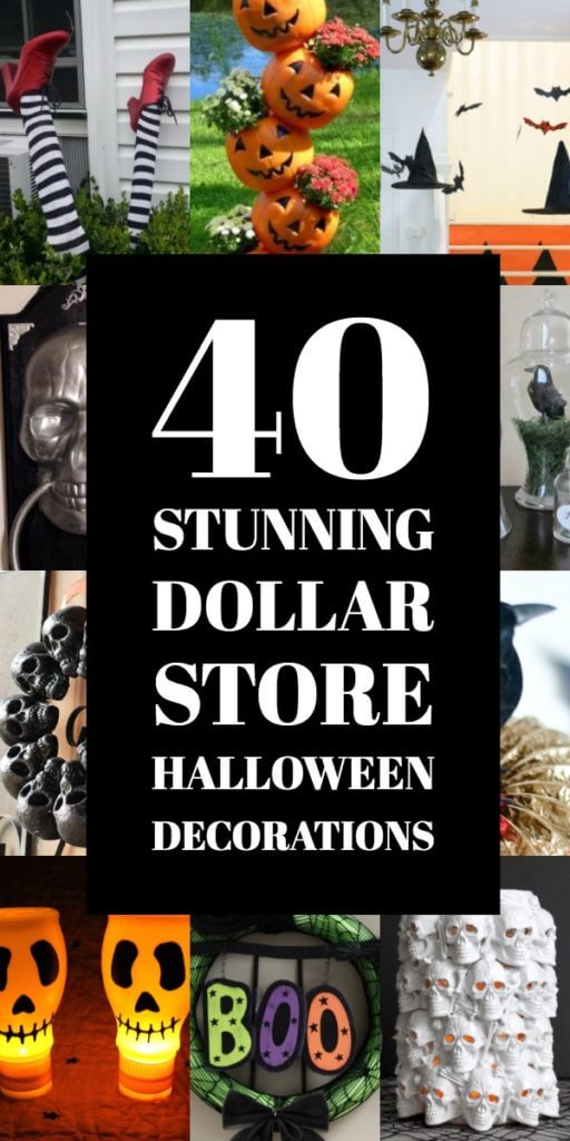 40 Dollar Store Halloween Decoration Ideas! Dollar Store DIYs for Halloween! It's seriously easy to give those Dollar Tree pumpkins, skulls, crows & bugs a scary makeover & reinvent your home (inside & out) for Halloween! From fab wreaths & spooky spiders for the front door to centerpieces & apothecary jars & crafts to make with your kids these dollar store Halloween ideas are too awesome to miss! #Halloween #DollarStore #HalloweenDecorations #HalloweenDIY #HalloweenCrafts #crafts