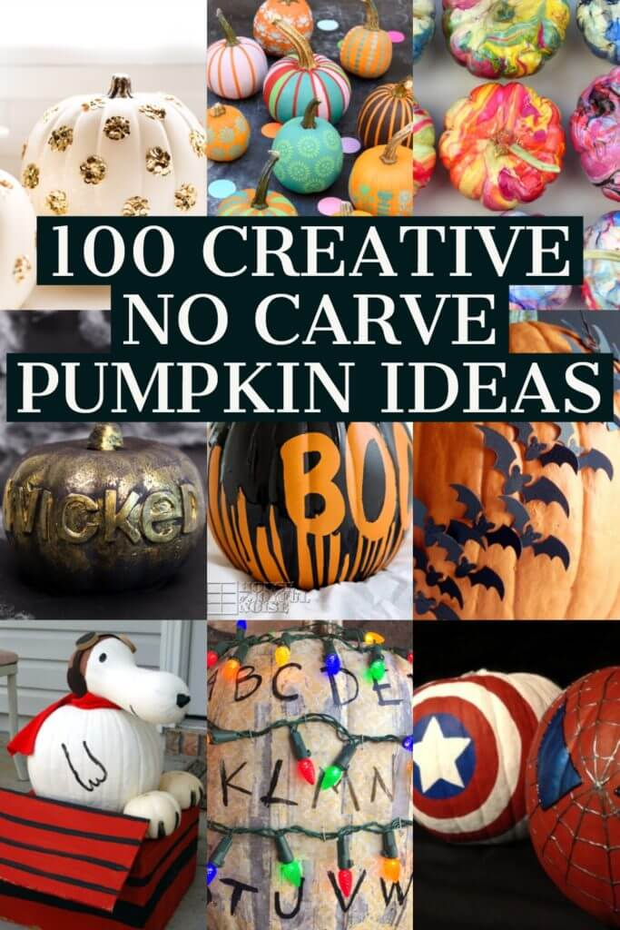100 Creative No-Carve Painted Pumpkin Ideas! The best Halloween craft ideas for autumn- 100 painted pumpkins! Give a dollar store pumpkin a makeover or drip paint your pumpkin with crayons or nail polish! You'll love these no carve pumpkin ideas & crafts for festivals, pumpkin decorating contests & home decor! Don't miss the Disney pumpkins for kids! Best no carve painted pumpkins ever! #nocarvepumpkins #pumpkin #pumpkins #nocarve #ideas #crafts #Halloween #pumpkinideasforkids #pumpkindecorating