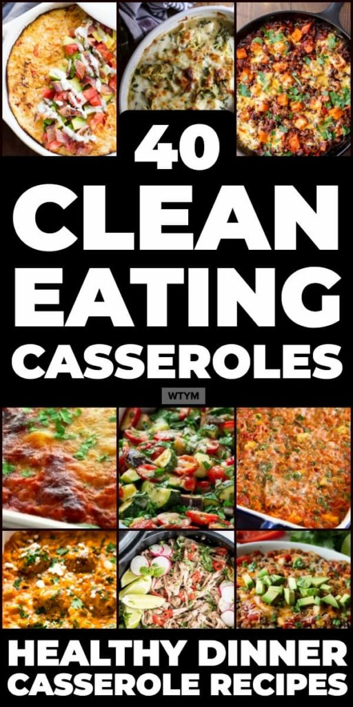 Clean eating casserole recipes make healthy dinner easy! 40 clean eating, healthy casseroles for weight loss and family meals. Whether you're looking for low carb, clean eating casseroles with chicken, ground turkey, and vegetables or simple crockpot casserole recipes you'll find a new favorite comfort food in this collection of clean eating casseroles for dinner - with vegetarian and dairy-free options! #healthyrecipes #cleaneating #casserole #healthydinner #dinner