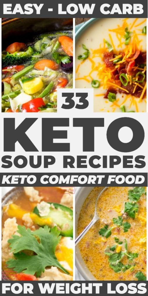 Keto Soup Recipes! These low carb keto soup recipes make fabulous easy keto dinners! Hearty, comforting, and filling these keto soup recipes are perfect comfort food for weight loss on the ketogenic diet. Whether you're looking for crockpot soup recipes or healthy chicken soup you'll find a new soup recipe to love in this collection! #ketorecipes #keto #ketodiet #ketogenic #lowcarb #ketosoup #lowcarbsoup #soup #dinner #comfortfood