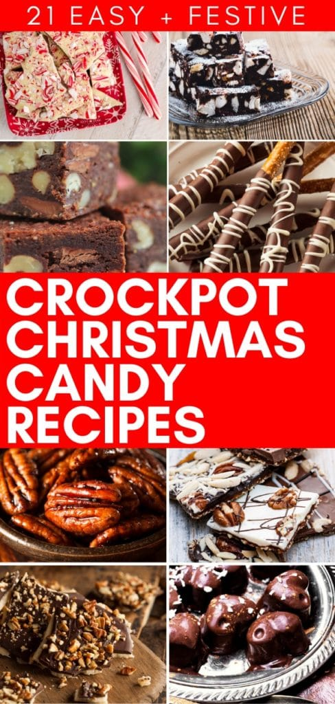 21 easy homemade candy to make Crock-Pot slow cooker Christmas candy recipes that you will adore! All are simple to make, there's chocolate, fudge, Christmas crack, turtles, peppermint clusters and more holiday favorites! Don't miss these crockpot Christmas candy recipes that make fabulous gifts! #CrockPot #CrockPotRecipes #CrockPotCandy #SlowCookerCandy #SlowCooker #SlowCookerRecipes #Christmas #ChristmasCandy #ChristmasChocolate