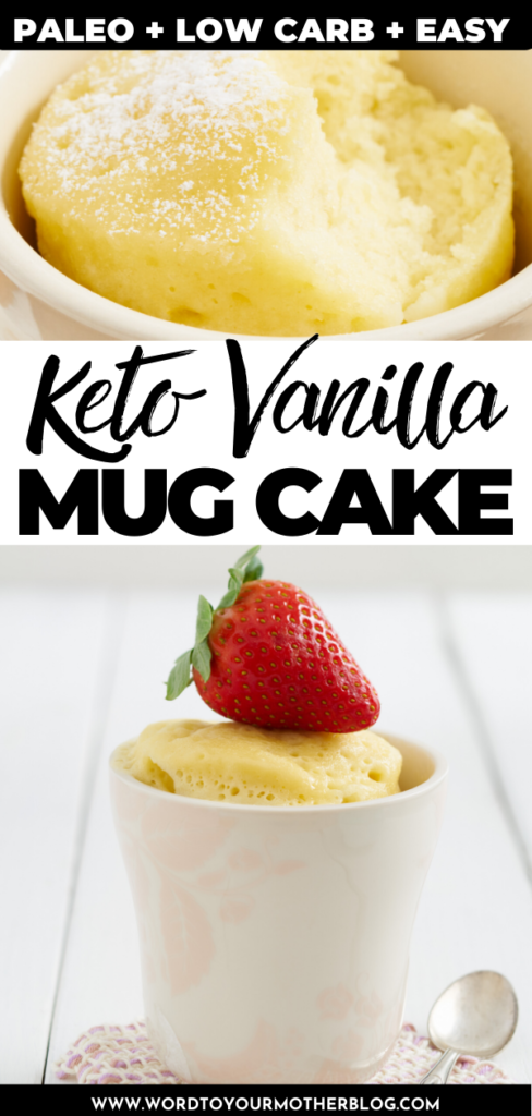 Easy Keto Vanilla Mug Cake Recipe. Make this healthy low carb vanilla mug cake with almond flour in less than 5 minutes in the microwave. If you need a quick, no bake keto dessert or low carb snack that's dairy free, delicious and uses simple ingredients this vanilla mug cake is the best! Vegetarian, Paleo, Gluten-free, Dairy Free #ketorecipes #lowcarbrecipes #mugcake #glutenfree #dairyfree #paleo #healthy #baking #easy #lowcarb